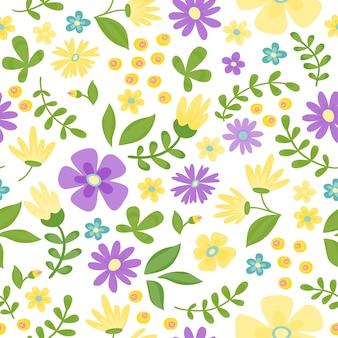 Vector bloemen naadloos patroon. leuke retro bloemen