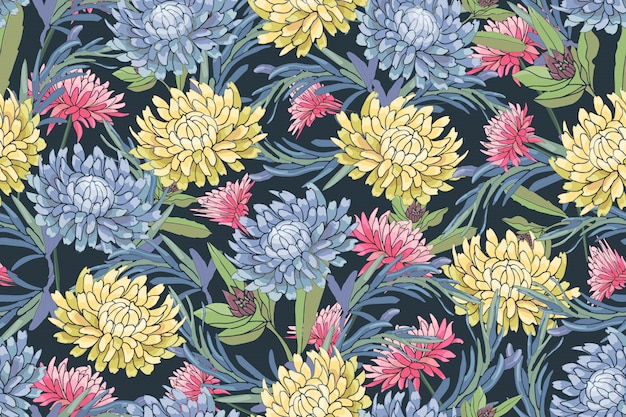 Vector bloemen naadloos patroon. lichtblauwe, roze en gele herfstaster, chrysanthemum, rozemarijn, gaillardia