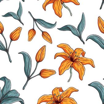 Vector bloemen naadloos patroon met bloeiende gele bloem
