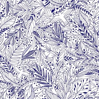Vector bloemen naadloos patroon met exotikbladeren en vogels