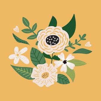 Vector bloemenboeket met bladeren plant en bloei bloem doodle botanische illustratie