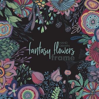 Vector bloemenframe met boeketten van handgetekende fantasiebloemen, planten en takken. mooie sjabloon voor uitnodigingen, wenskaarten.