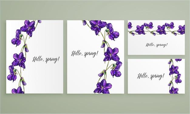 Vector bloemengroetkaart die met viooltjesbloemen wordt geplaatst.