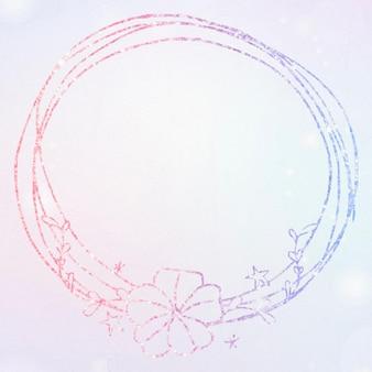 Vector bloemenkrans glitterrand