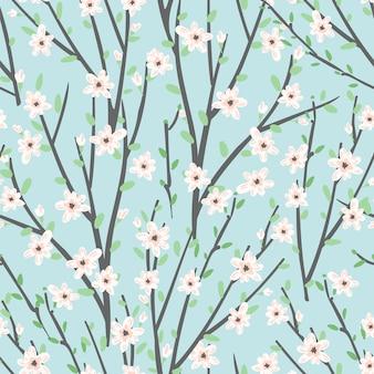 Vector bloemenpatroon met bloemen en takken.