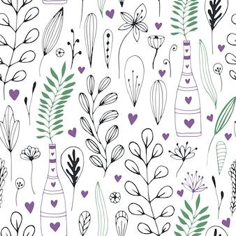 Vector bloemenpatroon met krabbelbloemen en bladeren. lente natuur print voor inwikkeling of textiel ontwerp.