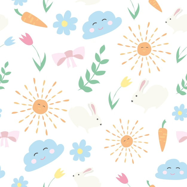 Vector bloemmotief in doodle stijl met bloemen en bladeren. zachte, lente bloemenachtergrond.