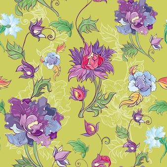 Vector bloemmotief met chrysant, pioenroos, aster. aziatisch thema. gekleurd patroon met bloemen.