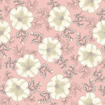 Vector bloemmotief. naadloze textuur met witte petunia bloemen op een lichtroze achtergrond.