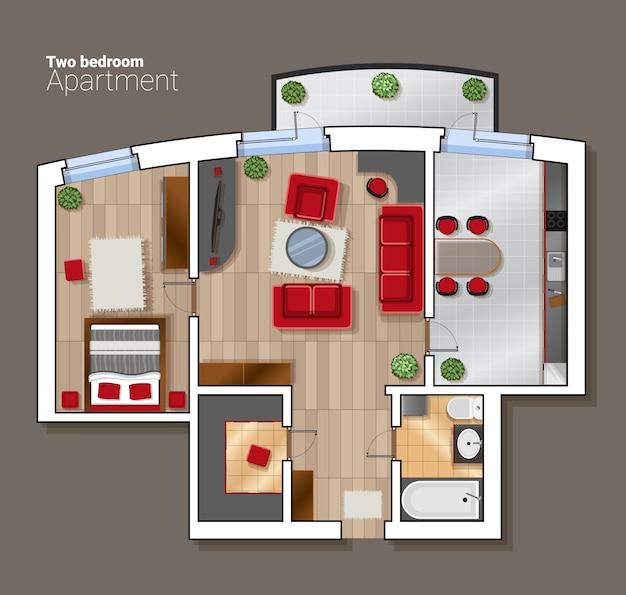 Vector bovenaanzicht plattegrond van de huiskamer. moderne eetkamer, slaapkamer en badkamer interieur met meubels