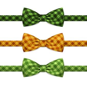 Vector bow tie bowtie set geïsoleerd op wit Premium Vector