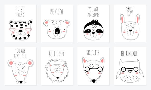 Vector briefkaart collectie met schattige doodle dieren en motivatie belettering zin. perfect voor poster, verjaardag, babyboek, kinderkamer, jubileum, babydouche