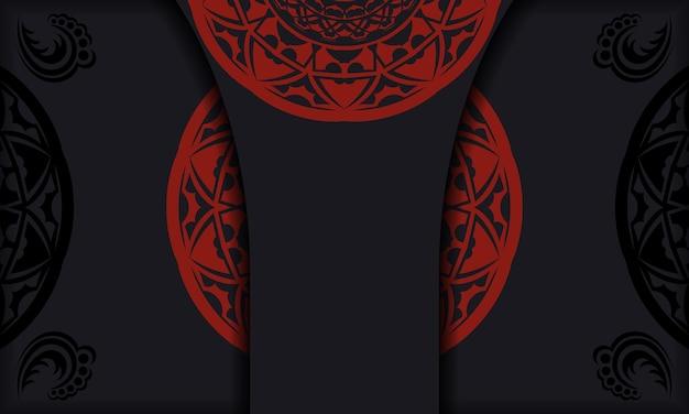 Vector briefkaart ontwerp met griekse ornamenten. zwart-rode banner met luxe ornamenten voor uw logo.