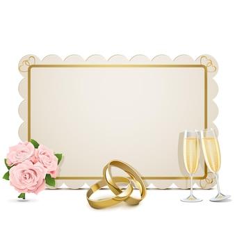 Vector bruiloft frame geïsoleerd op een witte achtergrond