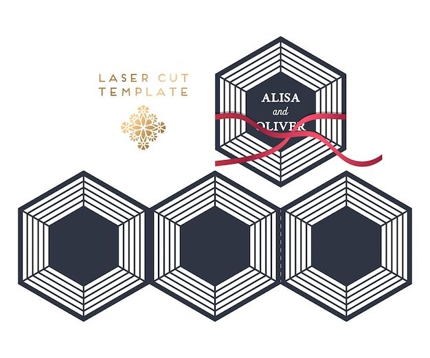 Vector bruiloft kaart laser gesneden sjabloon