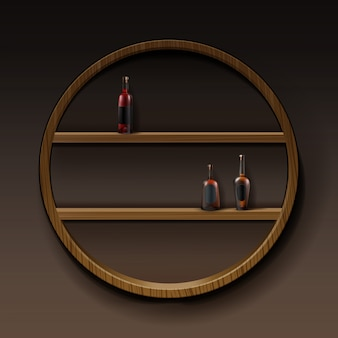 Vector bruine ronde houten planken met flessen alcohol geïsoleerd op donkere achtergrond