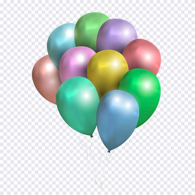 Vector bundel van gekleurde ballonnen op transparante achtergrond