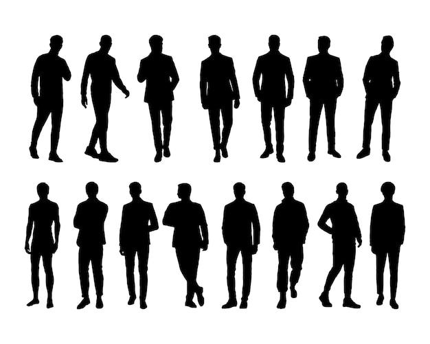 Vector business man silhouetteset van silhouetten van mensen uit het bedrijfsleven silhouetten geïsoleerde background