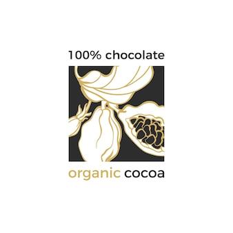 Vector cacao logo natuurlijk symbool chocolade boomtak bladeren bonen graan