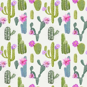 Vector cactus achtergrond. naadloze patroon. exotische plant. tropische achtergrond.