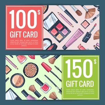 Vector cadeaubon vouchers voor schoonheidsproducten