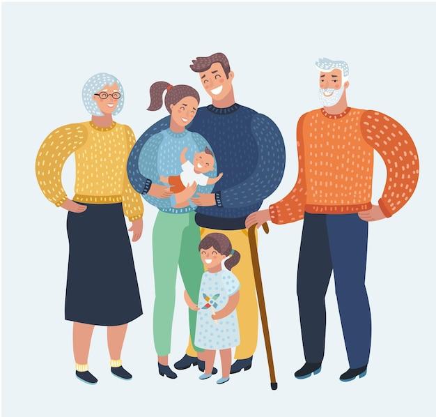 Vector cartoon afbeelding cartoon, mooie gelukkige familie, moeder, vader, twee kinderen, grootouders. drie generatie goed humeur. menselijke karakters