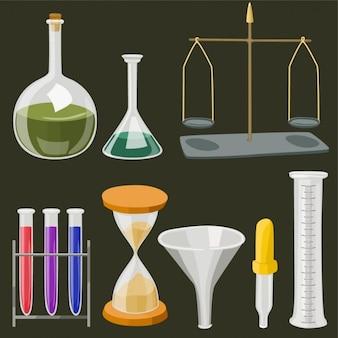 Vector cartoon chemisch laboratorium objecten in vlakke kleuren
