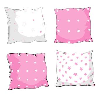 Vector cartoon decoratieve kussens. hand getrokken set decoratieve kussens. doodle illustratie