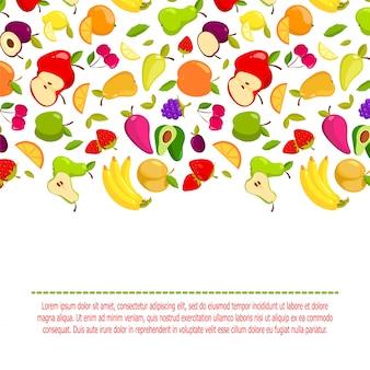 Vector cartoon fruit achtergrond. banner met natuurlijke verse voedselillustratie