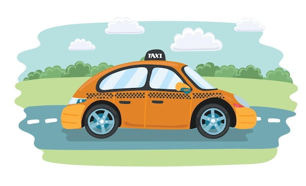 Vector cartoon grappige illustratie van gele taxiservice