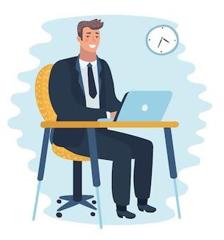 Vector cartoon illustation van man aan het werk op laptopcomputer aan de tafel