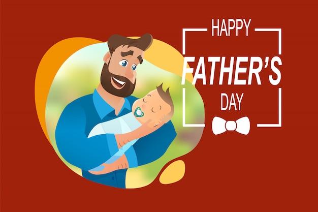 Vector cartoon illustratie concept gelukkig vader