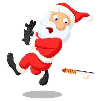Vector cartoon illustratie. de leuke kerstman loopt en de voetzoeker is erachter.