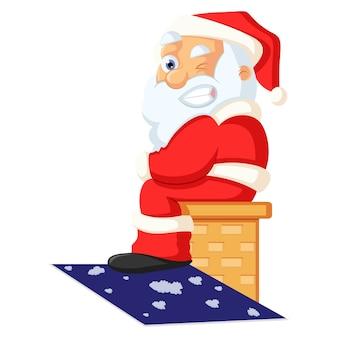 Vector cartoon illustratie. de leuke kerstman zit op de bank en maakt ogen.