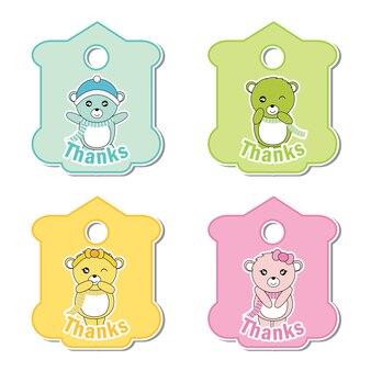 Vector cartoon illustratie met kleurrijke schattige baby beren geschikt voor kind cadeau tag set ontwerp, bedankt tag, en afdrukbare sticker set
