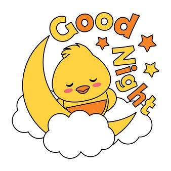 Vector cartoon illustratie met schattige baby chick slaapt op wolk geschikt voor kid t-shirt grafisch ontwerp, achtergrond en behang