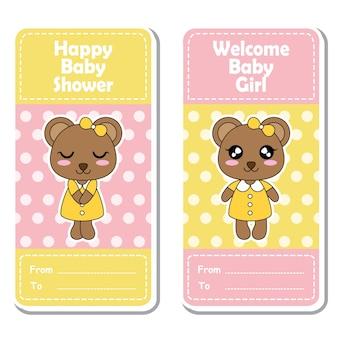 Vector cartoon illustratie met schattige beer meiden op roze en gele stippen achtergrond geschikt voor baby shower label ontwerp, banner set en uitnodigingskaart