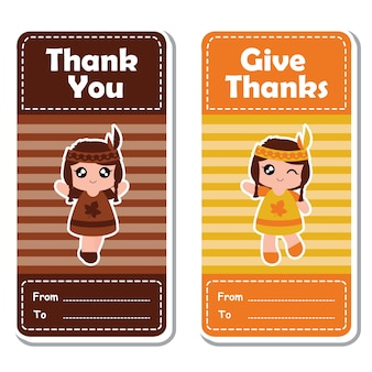 Vector cartoon illustratie met schattige indiase meiden op gestreepte achtergrond geschikt voor gelukkige thanksgiving's day label ontwerp, banner set en uitnodigingskaart