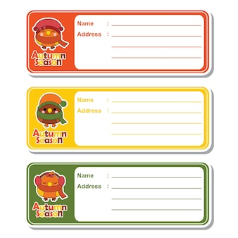 Vector cartoon illustratie met schattige kawaii vogels op kleurrijke achtergrond geschikt voor kid adreskaartje ontwerp, adres tag en printable sticker set