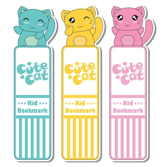 Vector cartoon illustratie met schattige kleurrijke kawaii katten geschikt voor kid bookmark label ontwerp, bookmark tag en sticker set