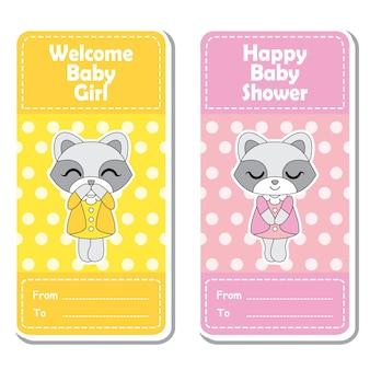 Vector cartoon illustratie met schattige wasbeer meisjes op roze en gele stippen achtergrond geschikt voor baby shower label ontwerp, banner set en uitnodigingskaart