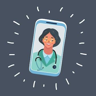 Vector cartoon illustratie van arts praten met vrouw arts karakter op smartphone scherm.