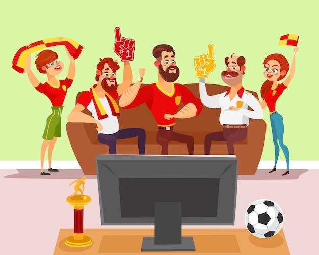 Vector cartoon illustratie van een groep vrienden kijken naar een voetbalwedstrijd op tv
