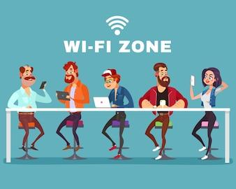Vector cartoon illustratie van een man en een vrouw in de wi-fi zone