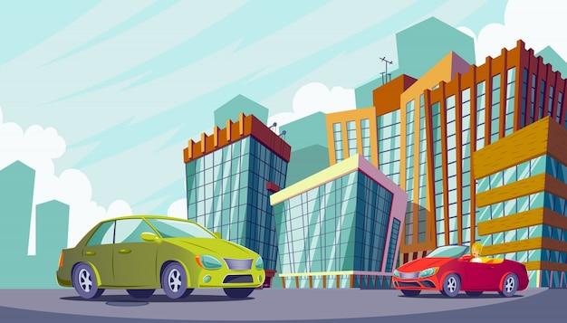 Vector cartoon illustratie van een stedelijk landschap met grote moderne gebouwen en auto's.