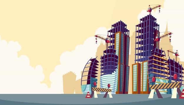 Vector cartoon illustratie van het proces van de bouw van gebouwen