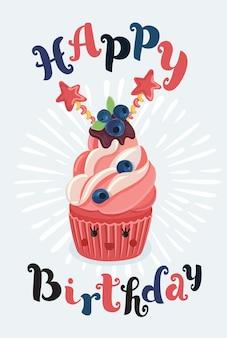 Vector cartoon illutstration van happy birthday cupcake met lachende schattig gezicht en hand getrokken belettering card