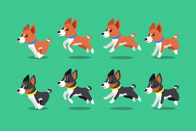 Vector cartoon karakter basenji honden lopende stap