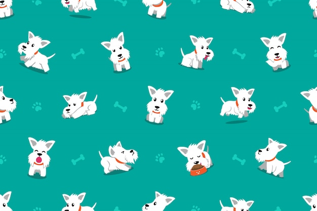 Vector cartoon karakter witte schotse terriër hond naadloze patroon achtergrond