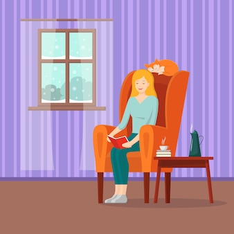Vector cartoon meisje leesboek in fauteuil met rode kat en winterlandschap in venster.